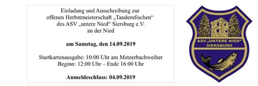 Herbstmeisterschaft/Tandemfischen am 14.09.2019